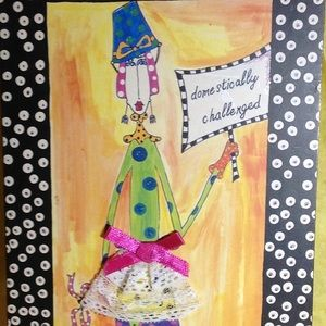 """SIGN """"domestically challenged"""" chip board 11""""x 6"""""""